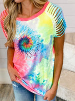 Load image into Gallery viewer, Tie Dye Sunflower Print Short Sleeve T-Shirt