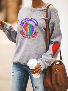 The First Pride Was A Riot Heart Print Sweatshirt