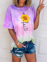 Load image into Gallery viewer, Women's Sunflower Faith Print Tie-Dye T-Shirt
