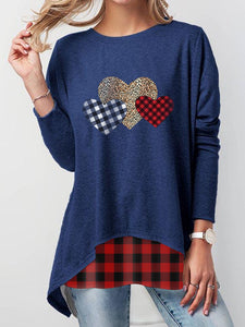 Women's Leopard Check Heart Valentine's T-Shirt