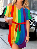 Load image into Gallery viewer, Women's Rainbow Stripes Cozy Dress