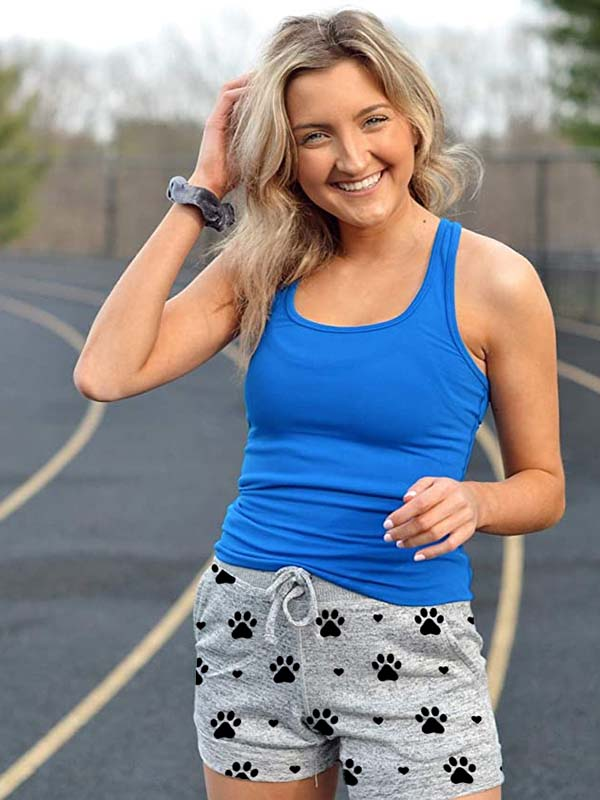 Women's Dog Paw Heart Print Shorts