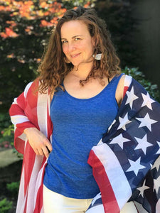 Women's American Flag Tulle Cape Cardigan