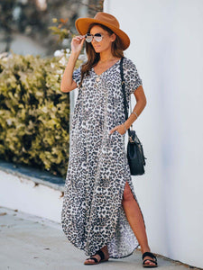 Rowdy Pocketed Leopard Knit Maxi Dress