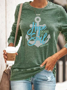 Hope Anchors The Soul Hebrews6:19 Long Sleeve Pullover