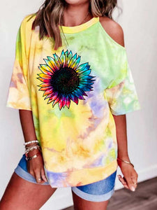 Sunflower Print Tie Dye Off-Shoulder Top
