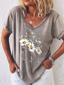 Women's Faith Little Daisy Casual Short Sleeve V-neck Short Sleeve Top