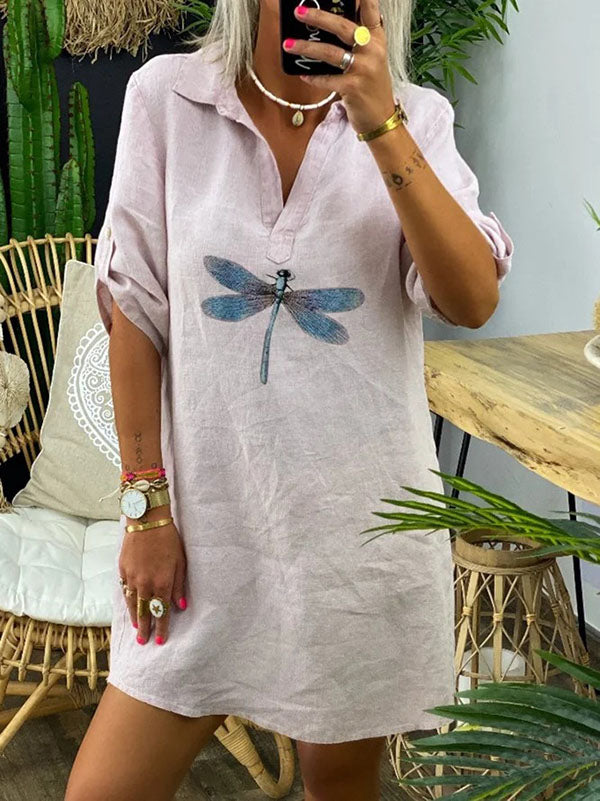 Casual Dragonfly Print Dress