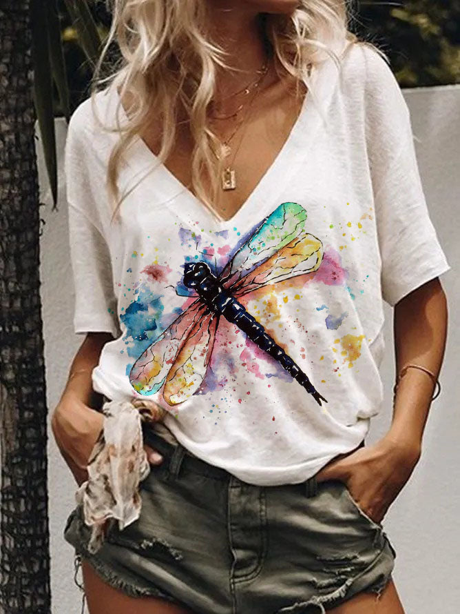 Women's Watercolor Dragonfly Print T-shirt