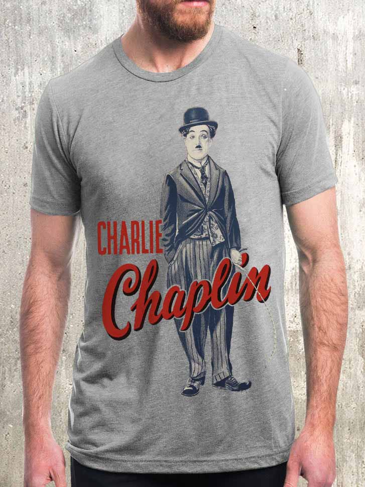Men's Charlie Chaplin Character Print Simple Casual T-shirt