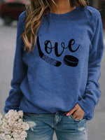 Load image into Gallery viewer, Love Hockey Long Sleeve Funny Sweatshirt