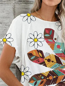 Women's round neck printed casual T-shirt