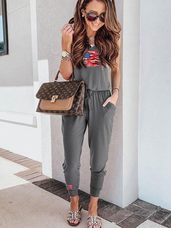 American Flag Printed Linen Jumpsuit