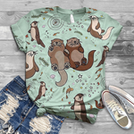 Load image into Gallery viewer, Women's Casual Retro Cute Otter Print Short Sleeve