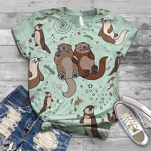 Women's Casual Retro Cute Otter Print Short Sleeve