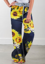 Load image into Gallery viewer, Sunflower Print Wild Leg Pants