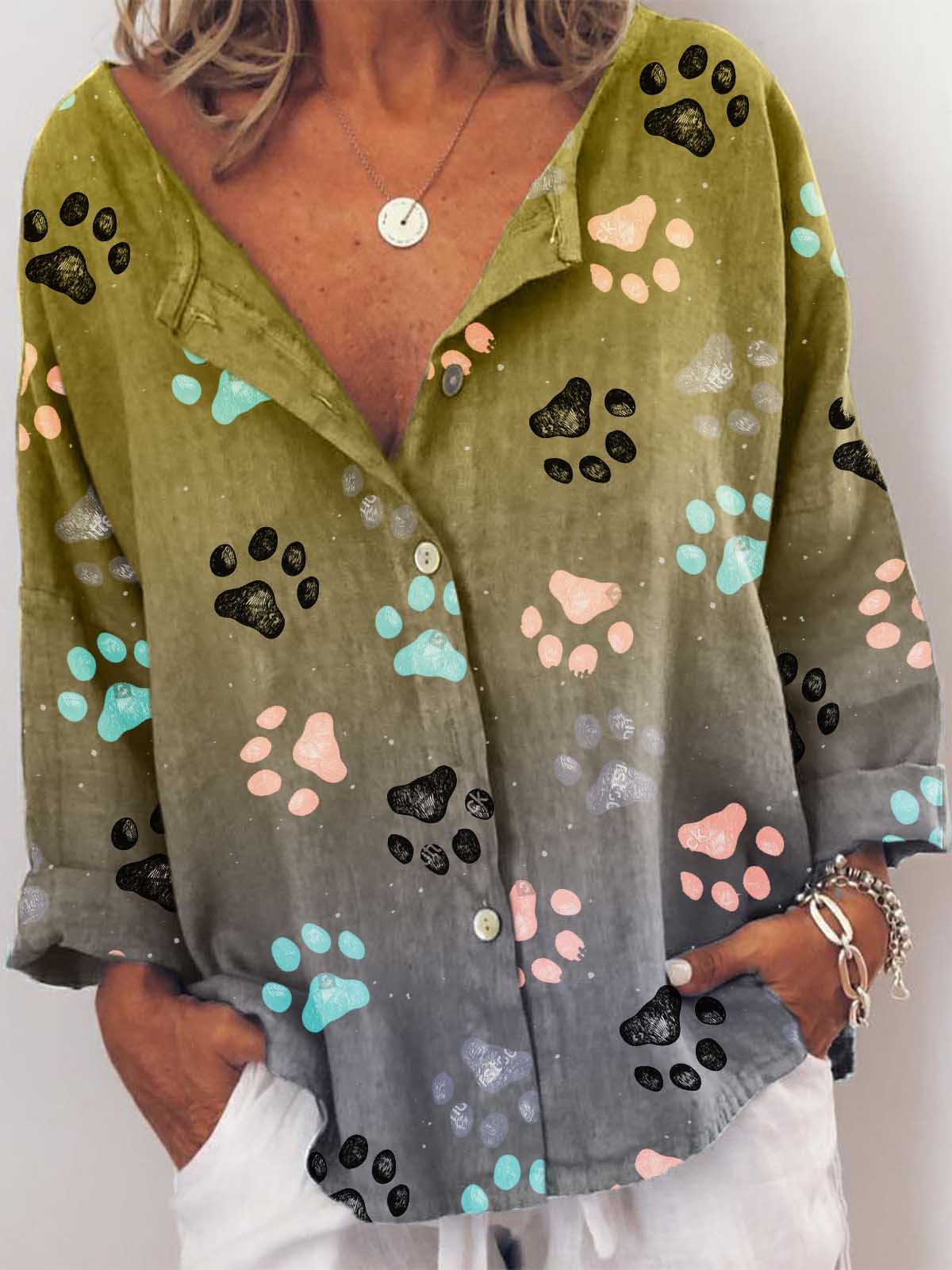 Woman's Colorful Dog Paw Print Blouses