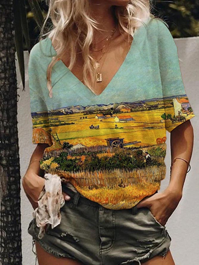 Women's Van Gogh-Harvest Scenery Printed Short Sleeve Top