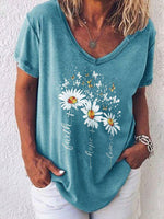 Load image into Gallery viewer, Women's Faith Little Daisy Casual Short Sleeve V-neck Short Sleeve Top