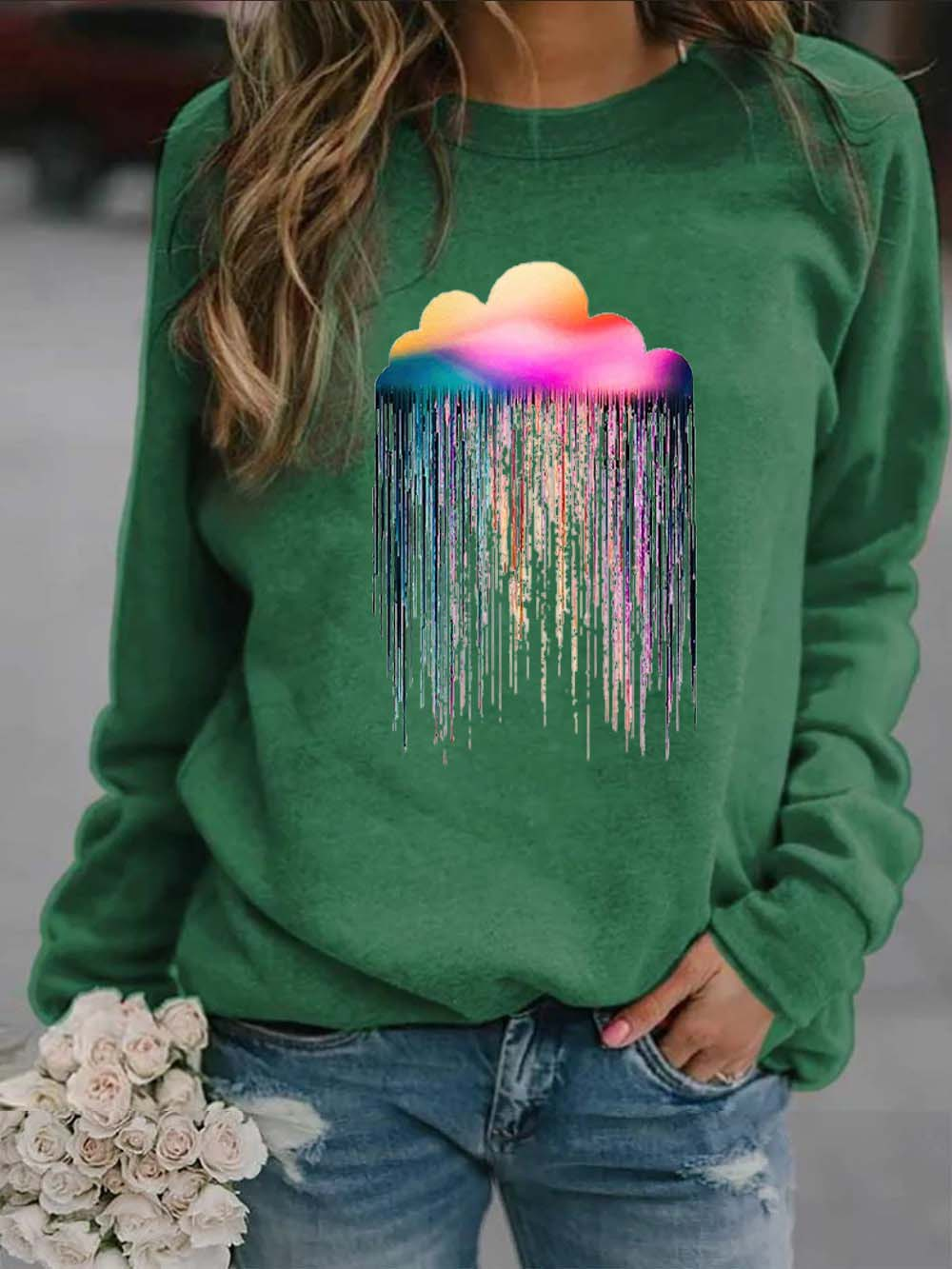 Cozy Rainbow Rain Cosmos lovers Sweatshirt