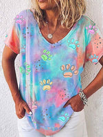 Load image into Gallery viewer, Paw Tie-dye Short Sleeve Top