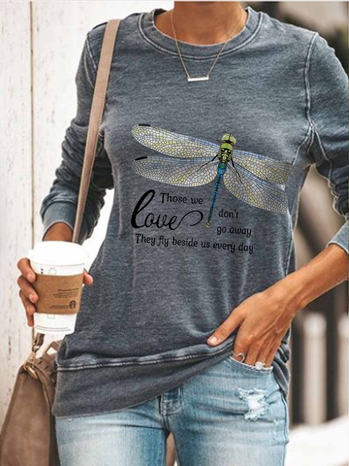 Women Love Those We Don't Go Away They Fly Beside Us Every Day Print Comfortable Sweatshirt