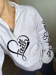 Women Faith Hope Love Heart  Printed Zip Sweatshirt