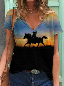 Girl And Horse Silhouette Artistic Conception Print V-Neck T-Shirt