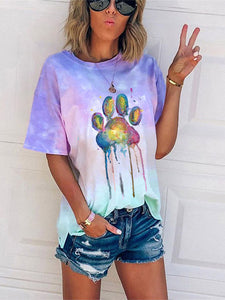 Painted Animal Colourful Dogs' Paw Print Tie Dye T-Shirt