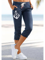 Load image into Gallery viewer, The Lord Is My Anchor Printed Casual Cropped Trousers