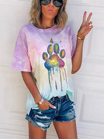 Load image into Gallery viewer, Painted Animal Colourful Dogs' Paw Print Tie Dye T-Shirt