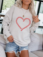 Load image into Gallery viewer, Baseball Heart Print Long Sleeve Pullover