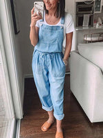 Load image into Gallery viewer, Cozy Drawstring Denim Jumpsuit