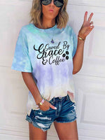 Load image into Gallery viewer, Women's Saved By Grace & Coffee Tie-Dye T-shirt