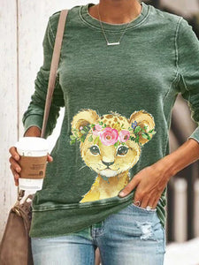 Ladies casual young leopard long sleeve round neck sweater