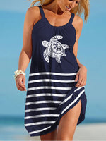 Load image into Gallery viewer, Sea Turtle Print Beach Dress