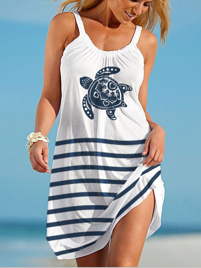 Sea Turtle Print Beach Dress