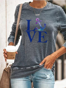 Love Anchor Print Long Sleeve Pullover