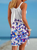 Load image into Gallery viewer, Purple Butterfly Print Beach Dress