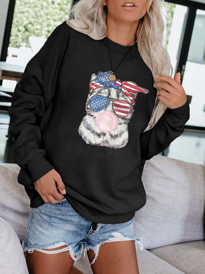 Cat With American Glasses Funny Pullover