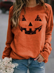 Woman's Autumn Cute Pumpkin Print Sweatshirt