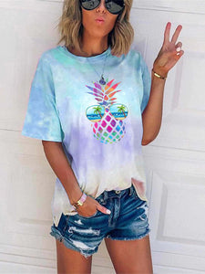 Colorful Pineapple Sunglasses Beach Tie Dye T-shirt