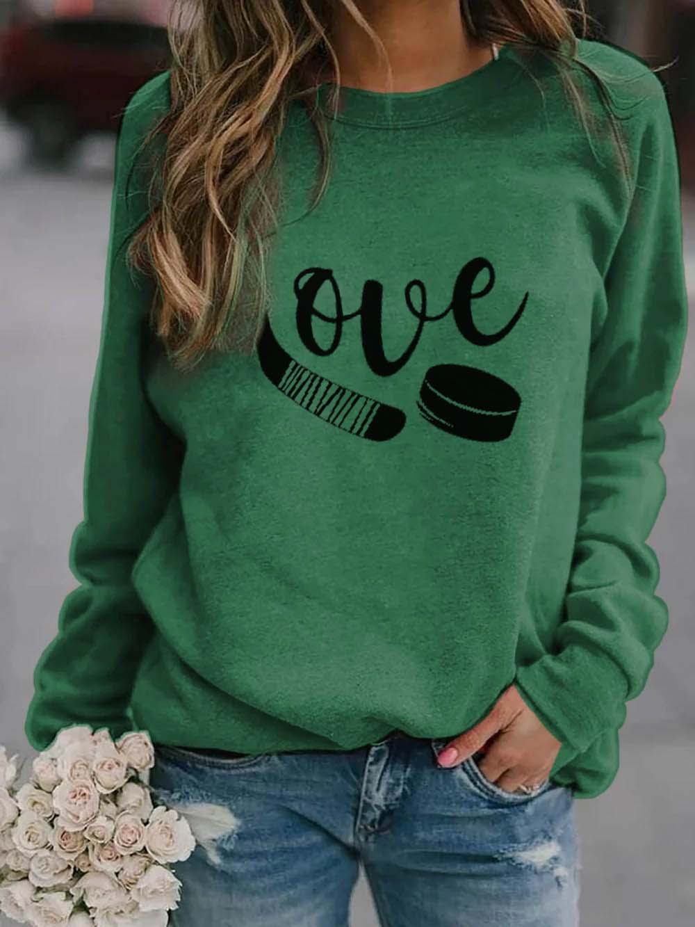 Love Hockey Long Sleeve Funny Sweatshirt