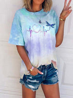 Load image into Gallery viewer, Women's Love Dragonfly Print Tie-Dye T-shirt
