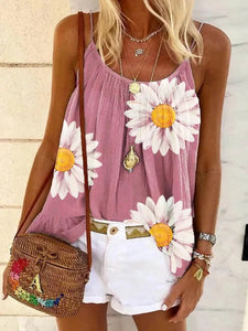 Casual Sleeveless Floral Printed Tank Tops