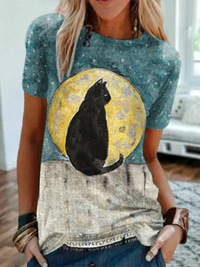 Women's Black Cat Sitting on The Fence Watercolor Painting T-shirt