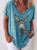 Load image into Gallery viewer, Women's Cute Donkey Print T-shirt