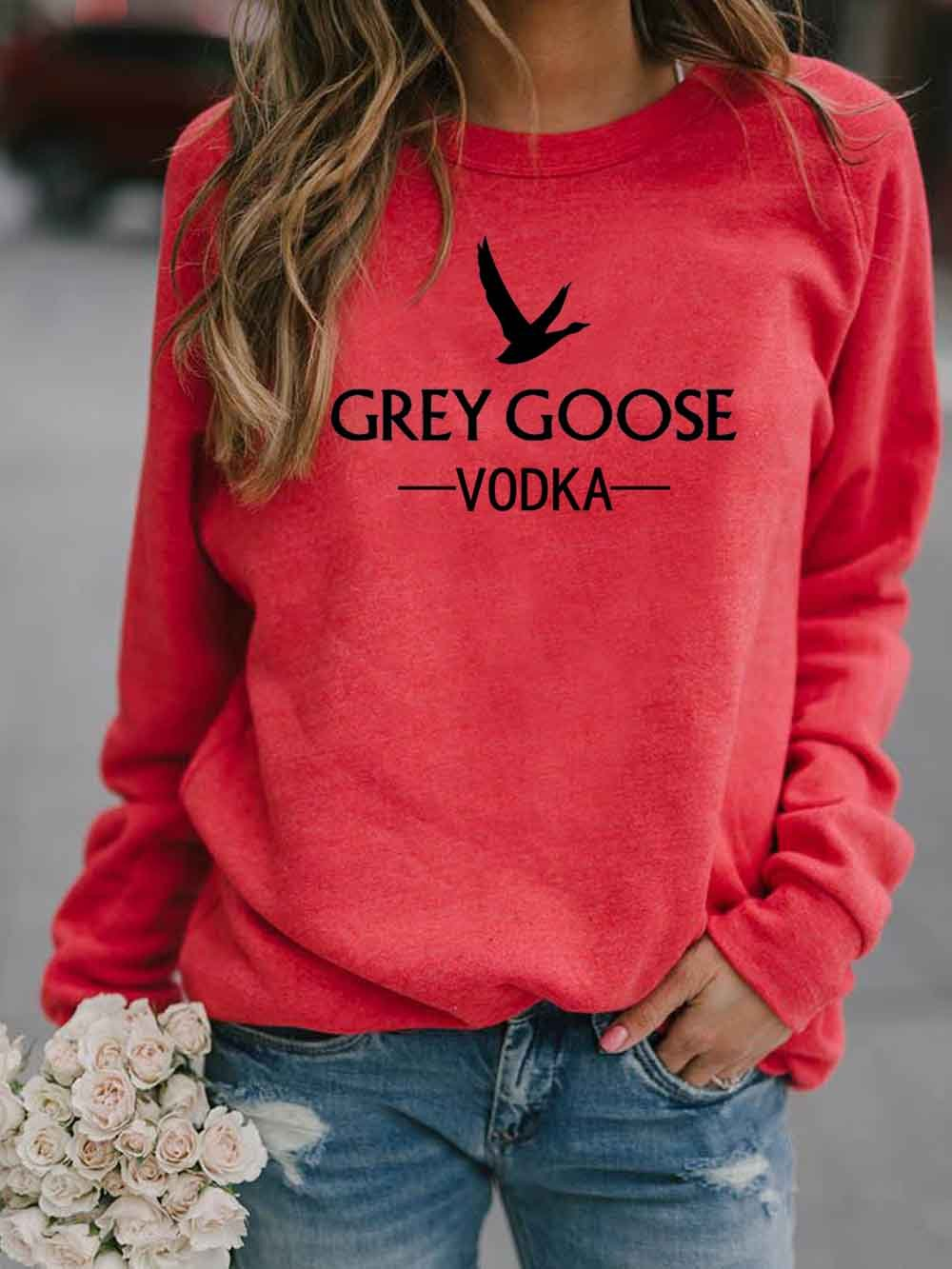 Women's GREY GOOSE VODKA Letter Print Sweatshirt