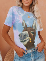Load image into Gallery viewer, Women's Casual Retro Donkey Print Tie-Dye T-Shirt