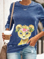 Load image into Gallery viewer, Ladies casual young leopard long sleeve round neck sweater
